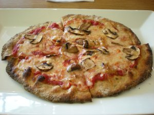 Crimini mushrooms, roasted garlic, tomato sauce and soy cheese